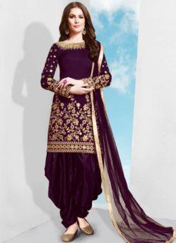 Wine Tafeta Silk Designer Patiyala Salwar Suit