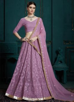 Lavender Georgette Wedding Designer Lehenga Choli