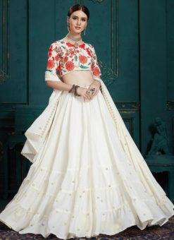 Designer Wedding White Georgette Lehenga Choli