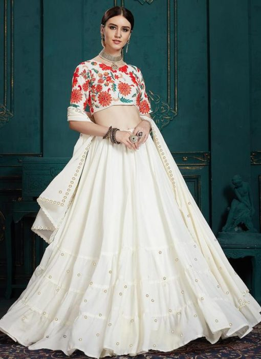 Designer Wedding White Georgette Lehenga Choli
