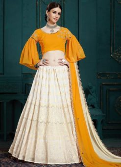 Yellow Designer Wedding Georgette Lehenga Choli
