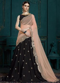 Embroidered Work Black Georgette Designer Lehenga Choli