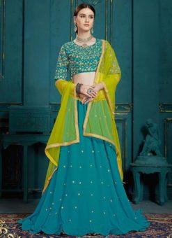 Blue Designer Wedding Georgette Lehenga Choli