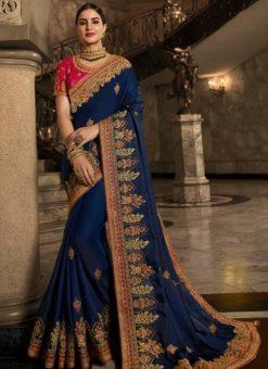 Blue Silk Designer Party Wear Saree