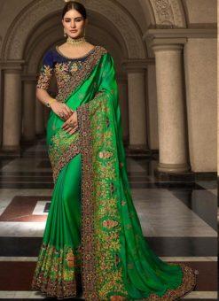 Green Silk Designer Party Wear Saree