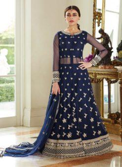 Blue Net Wedding Ghagra Suit Celebration
