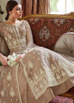 Beige Net Wedding Ghagra Suit Celebration