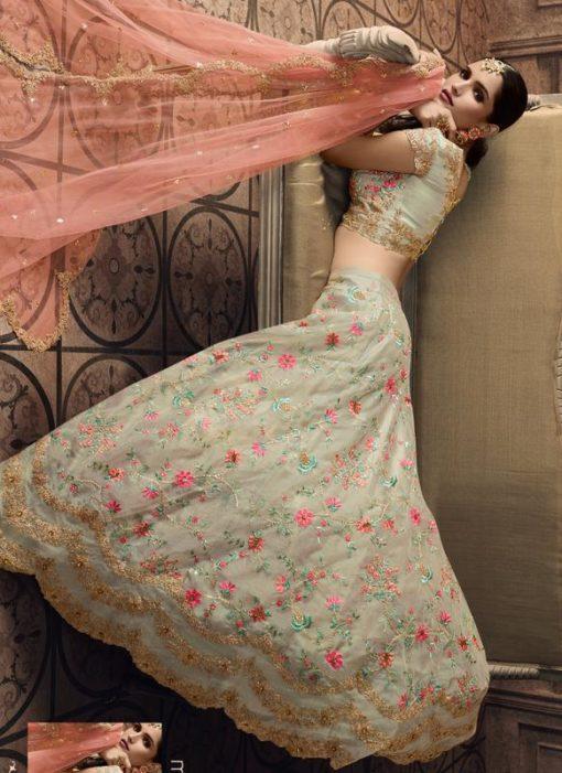 Pista Green Tissue Bridal Lehenga Choli
