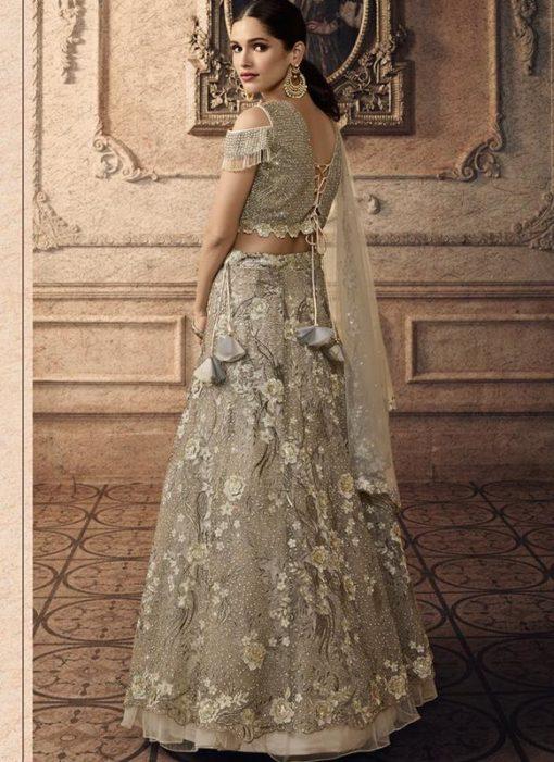 Grey Net Bridal Lehenga Choli
