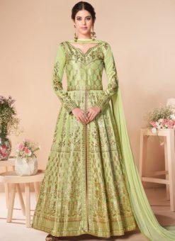Lovely Green Silk Embroidered Work Designer Anarkali Suit