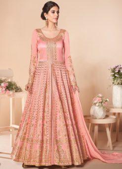 Beautiful Pink Silk Embroidered Work Wedding Anarkali Suit