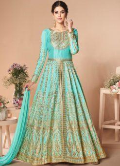 Amazing Sky Blue Silk Embroidered Work Designer Anarkali Suit
