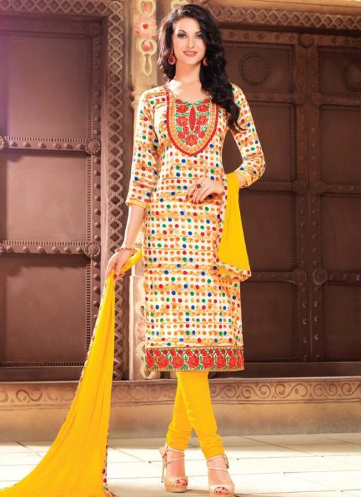 Designer Casual Wear Glaze Cotton Salwar Suits