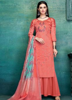 Designer Casual Wear Pure Zam Satin Palazzo Suit