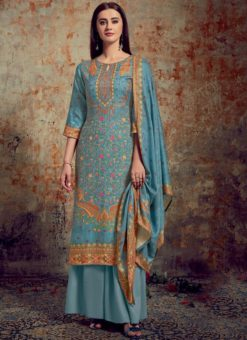 Wonderful Blue Jacquard Printed Designer Palazzo Suit