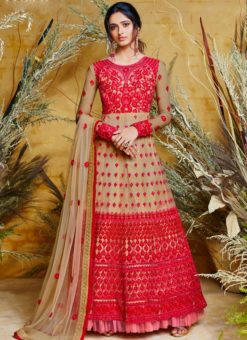 Glorious Beige Fancy Net Designer Anarkali Suit