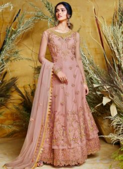 Wonderful Pink Fancy Net Designer Anarkali Suit