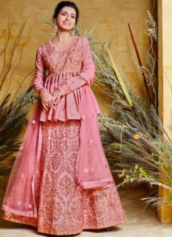 Adorable Pink Resham Floor Length Anarkali Suit
