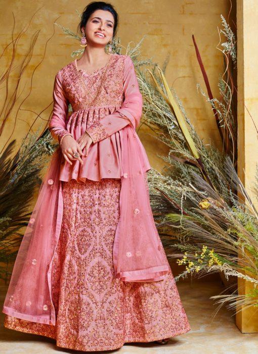 Adorable Pink Resham Floor Length Anarkali Suit