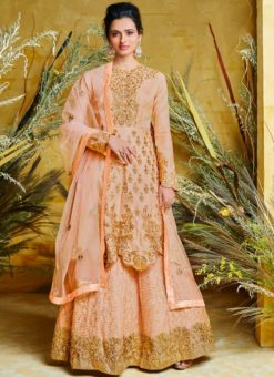Amazing Peach Net Floor Length Anarkali Suit