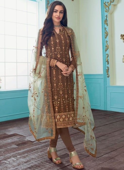 Charming Georgette Embroidered Brown Churidar Suit