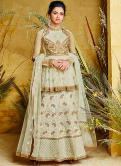 Dashing Pure Silk Off White Floor Length Anarkali Suit
