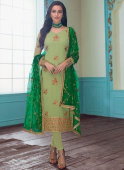Lovely Faux Georgette Sea Green Churidar Salwar Suit