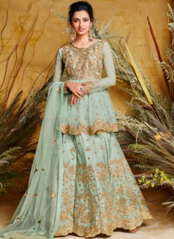 Lovely Silk Blue Floor Length Anarkali Suit