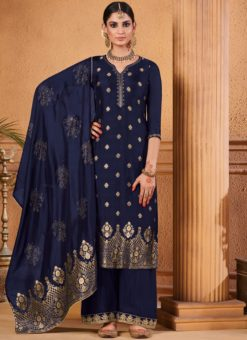 Outstanding Designer Palazzo Suit Dola Jacquard In Blue