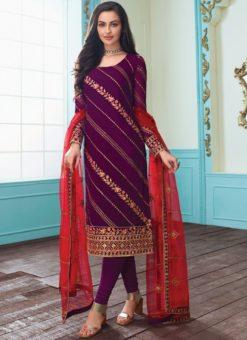 Trendy Maroon Embroidered Work Churidar Salwar Suit