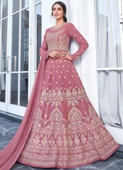 Resplendent Pink Georgette Embroidered Work Anarkali Suit