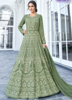 Stunning Green Georgette Embroidered Work Anarkali Suit