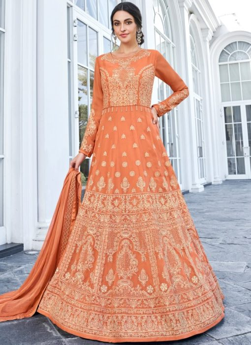 Magnificent Peach Georgette Embroidered Work Anarkali Suit