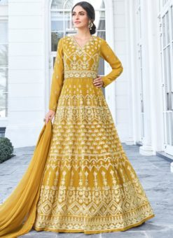 Luxurious Mustard Georgette Embroidered Work Anarkali Suit
