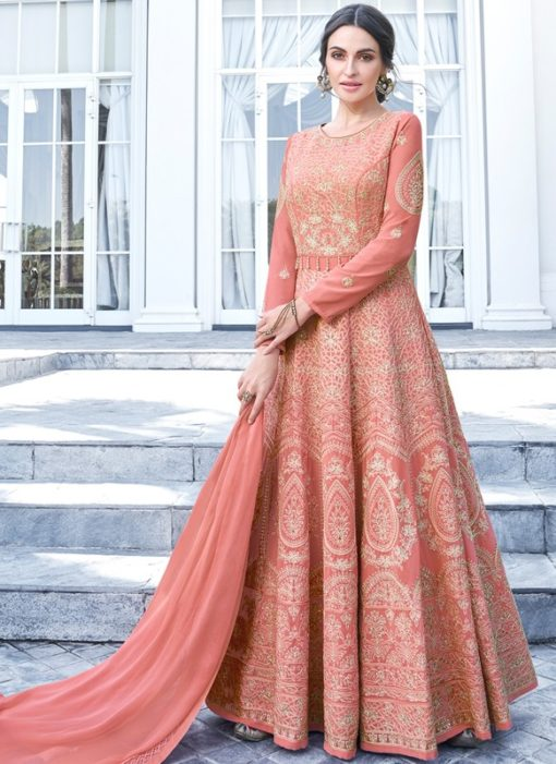 Deluxe Peach Georgette Embroidered Work Anarkali Suit