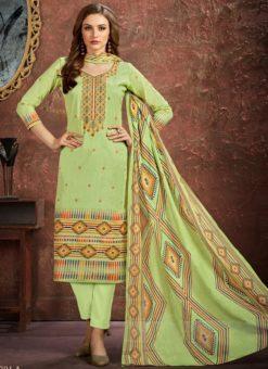 Elegant Green Cotton Printed Casual Wear Salwar Suit