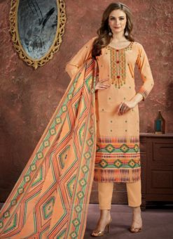 Charming Peach Cotton Printed Casual Wear Salwar Suit