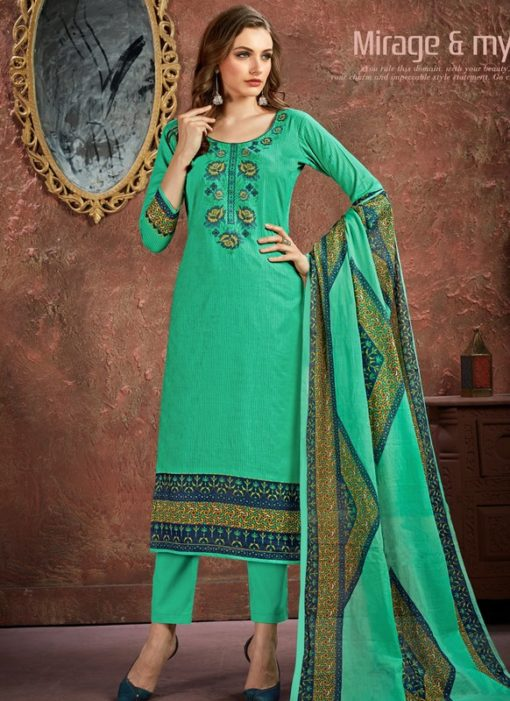 Pleasant Sea Green Cotton Printed Casual Wear Salwar Suit