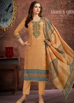 Lovely Orange Cotton Printed Casual Wear Salwar Suit