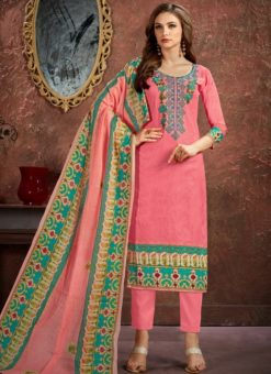 Pretty Pink Cotton Printed Casual Wear Salwar Suit