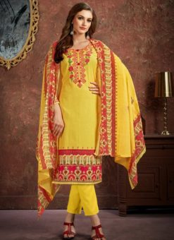 Fetching Yellow Cotton Printed Casual Wear Salwar Suit