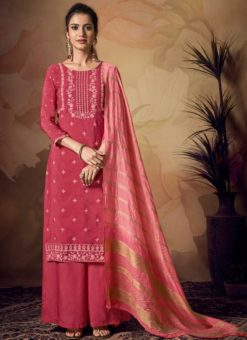 Charming Pink Viscose Embroidered Work Palazzo Suit