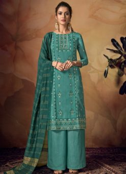 Blissful Blue Viscose Embroidered Work Palazzo Suit