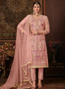 Elegant Pink Net Embroidered Work Designer Salwar Suit