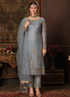 Exclusive Grey Net Embroidered Work Designer Salwar Suit
