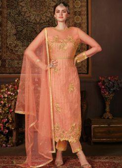 Fashionable Peach Net Embroidered Work Designer Salwar Suit