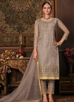 Snazzy Wine Net Embroidered Work Designer Salwar Suit