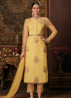 Gorgeous Yellow Net Embroidered Work Designer Salwar Suit