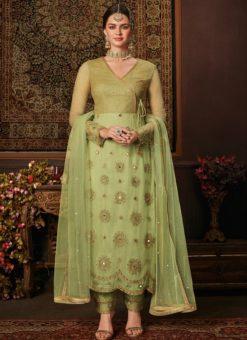 Impressive Green Net Embroidered Work Designer Salwar Suit