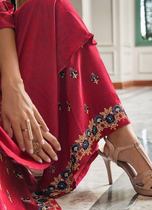 Majestic Magenta Cotton Party Wear Salwar Suit